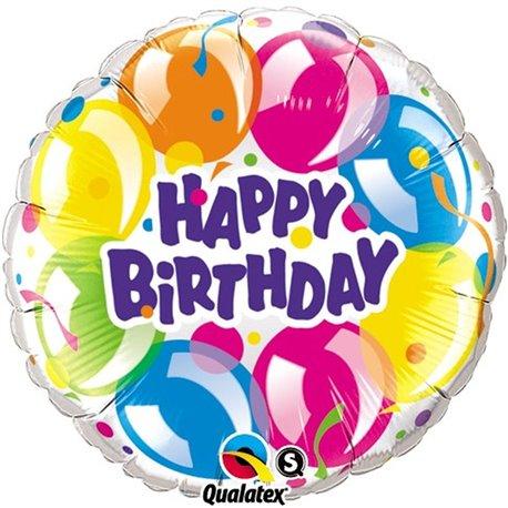 "Happy Birthday Sparkling Balloons Foil Balloon, Qualatex, 18"", 78155"