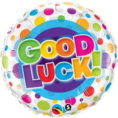 "Good Luck Colorful Dots, Round Foil Balloon, Qualatex, 18"", 36387"