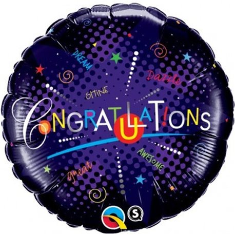 Balon Folie 45 cm Qualatex, Congratulations, 35165