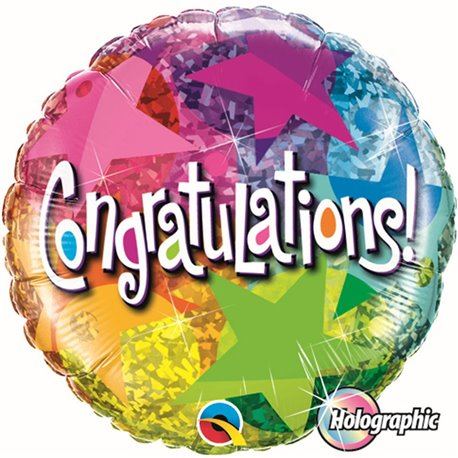"Congratulations Star Patterns Foil Balloons, Qualatex, 18"", 35412"