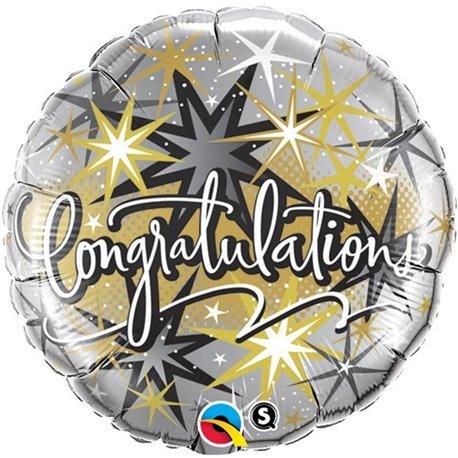 """Congratulations Foil Balloon - Elegant Stars, 18"""", Qualatex, 36397"""