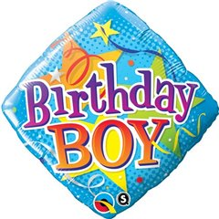 "Birthday Boy Diamond Foil Balloons, 18"", Qualatex, 34434"