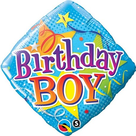 "Birthday Boy Diamond Foil Balloons, 18"", Qualatex, 34434"