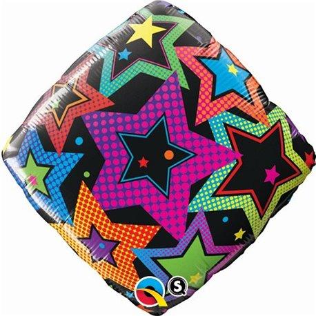 """Diamond Foil Stars Accent Patterns, 18"""", Qualatex, 35379"""