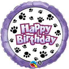 "Balon Folie 45 cm ""Happy Birthday"" Paw Prints, Qualatex 35443"