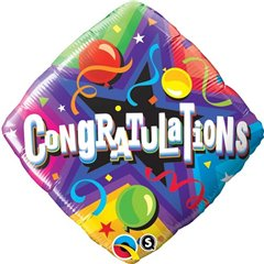 "Balon Folie 45 cm Patrat - ""Congratulations"" Party Time, Qualatex 34438"