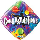 "Congratulations Party Time Diamond Foil Balloon - 18""/45cm, Qualatex 34438"