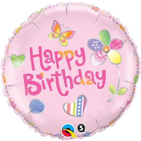 Balon Folie 45 cm Birthday Fashion Pink, Qualatex 36441