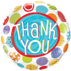 "Thank You Patterned Dots Foil Balloon - 18""/45cm, Qualatex 33354"