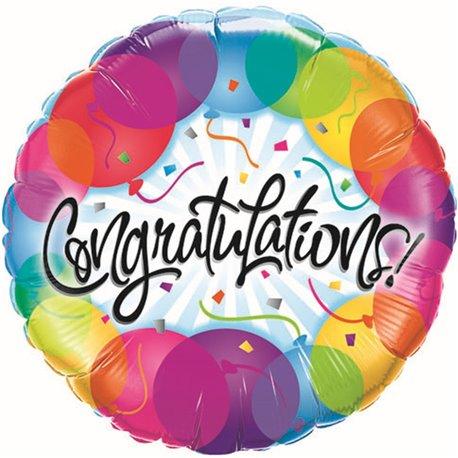 "Balon Folie 45 cm - ""Congratulations"" Ballons, Qualatex 33360"