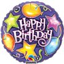 Balon Folie 45 cm Birthday Stars & Balloons, Qualatex 91287