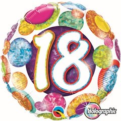 "18 Big Dots & Glitz Foil Balloon - 18""/45cm, Qualatex 37888"