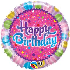 "Birthday Sprinkles & Sparkles Foil Balloon - 18""/45cm, Qualatex 30677"