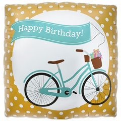 Balon folie patrat Happy Birthday Bike - 45cm, Northstar Balloons 00355