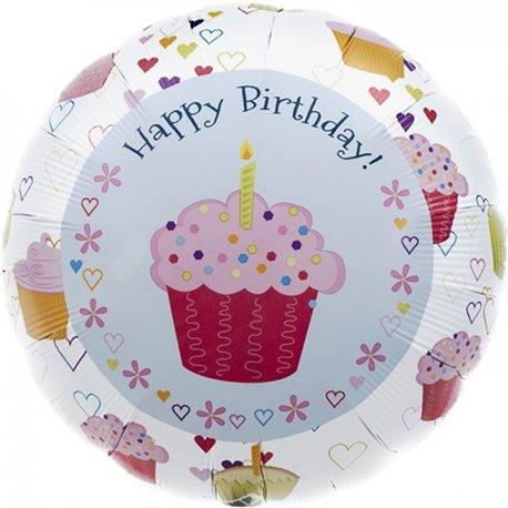 "Cupcake Hearts Birthday Foil Balloon - 18""/45cm, Northstar Balloons 00351"