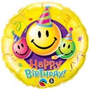 "Balon Folie 45 cm ""Happy Birthday"" Smiley Faces, Qualatex 29644"