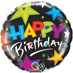 "Birthday Brilliant Stars Black Foil Balloon - 18""/45cm, Qualatex 23785"
