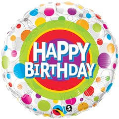 "Balon Folie 45 cm ""Happy Birthday"" cu Buline, Qualatex 41136"