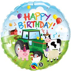 "Balon Folie 45 cm ""Happy Birthday"" Barnyard, Qualatex 29612"