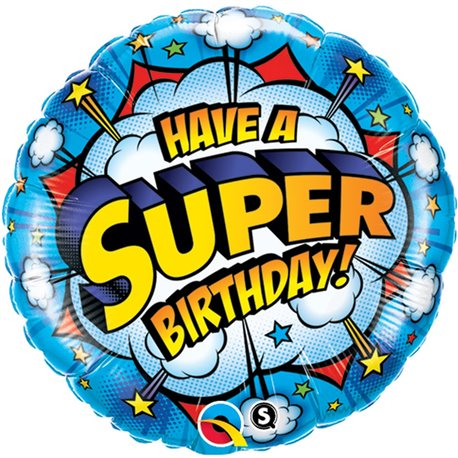 "Balon Folie 45 cm ""Have A Super Birthday"", Qualatex 41623"