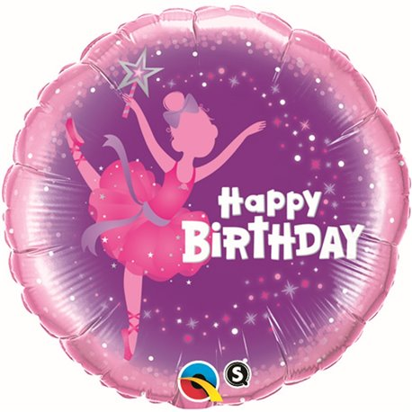 "Balon Folie 45 cm ""Happy Birthday"" Balerina, Qualatex 41681"