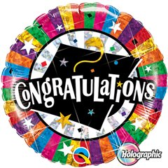 "Congratulations Grad Cap Holographic Foil Balloon - 18""/45cm, Qualatex 93437"