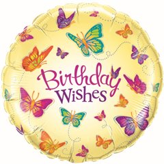 Balon Folie 45 cm Birthday Wishes Butterflies, Qualatex 30881