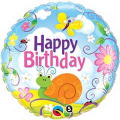 Balon Folie 45 cm Birthday Garden, Qualatex 31064