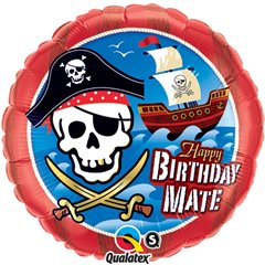 "Balon Folie 45 cm ""Happy Birthday Mate"" cu Pirati, Qualatex 11767"