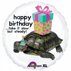 "Balon folie 45 cm ""Happy Birthday"" cu Testoasa, Amscan 19927"