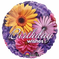 Balon folie 45cm floral Birthday Wishes, Amscan 1993401
