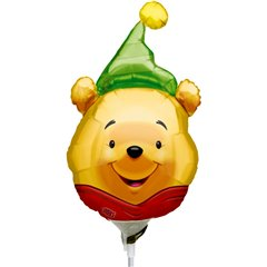 Balon folie mini figurina Winnie the Pooh - Party Hat, umflat + bat si rozeta, Amscan 0969202