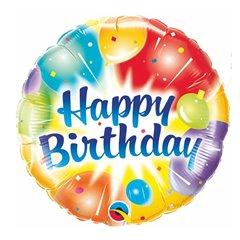 Balon Mini Folie Rotund Happy Birthday 23 cm, umflat + bat si rozeta, Qualatex 30669