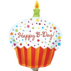 Balon mini figurina Happy Birthday Cupcake 30cm, umflat + bat si rozeta, Amscan 1608002