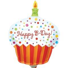 "Happy Birthday Cupcake Mini Shape Foil Balloon -  9""/23cm, Amscan 1608002"