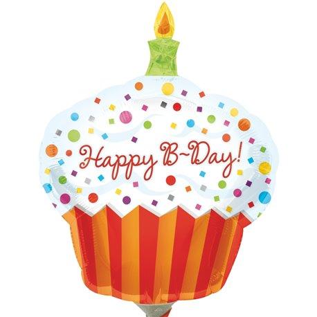 "Balon Folie Mini-Figurina Happy Birthday Cupcake -  9""/23cm, Amscan 1608002"
