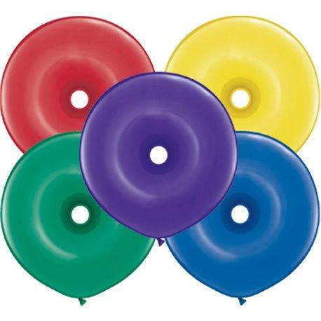 "Radiant Jewel Assortment GEO Donut Latex Balloons, 16"" Qualatex 48883, Pack Of 50 pieces"