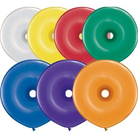 "Jewel Assortment GEO Donut Latex Balloons, 16"" Qualatex 39745, Pack Of 50 pieces"