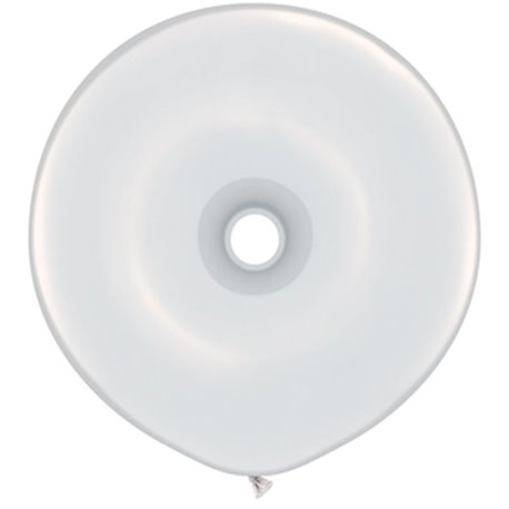 "White GEO Donut Latex Balloons, 16"" Qualatex 37688, Pack Of 25 pieces"
