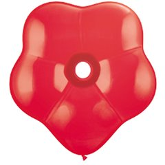 "6"" Red GEO Blossom Latex Balloons, Qualatex 43630, Pack of 100 pieces"