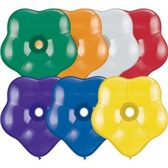 "6"" Jewel Assortment GEO Blossom Latex Balloons, Qualatex 43615, Pack of 100 pieces"