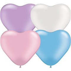 "6"" Pearl Assortment Latex Heart Balloons, Qualatex 17741, Pack of 100 pieces"