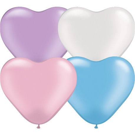 """6"""" Pearl Assortment Latex Heart Balloons, Qualatex 17741, Pack of 100 pieces"""