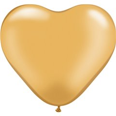 "6"" Gold Latex Heart Balloons, Qualatex 17726, Pack of 100 pieces"
