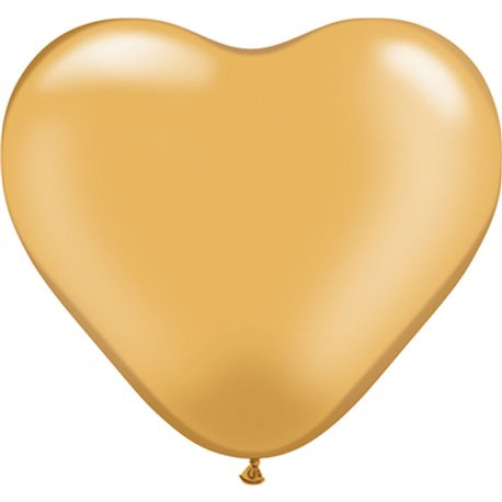 """6"""" Gold Latex Heart Balloons, Qualatex 17726, Pack of 100 pieces"""