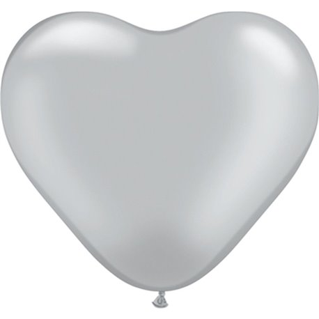 "6"" Silver Latex Heart Balloons, Qualatex 17727, Pack of 100 pieces"