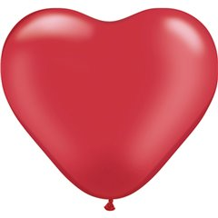 "6"" Pearl Ruby Red Latex Heart Balloons, Qualatex 17728, Pack of 100 pieces"