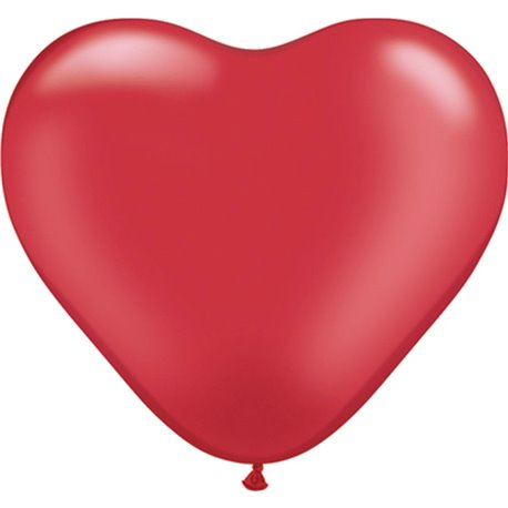 """6"""" Pearl Ruby Red Latex Heart Balloons, Qualatex 17728, Pack of 100 pieces"""