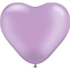 "6"" Pearl Lavender Latex Heart Balloons, Qualatex 17730"
