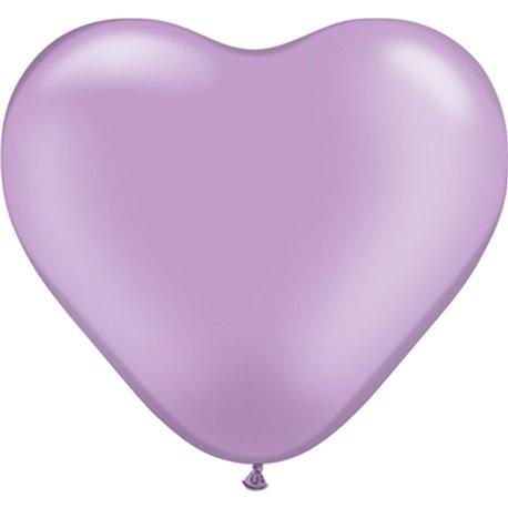 "Baloane latex in forma de inima, Pearl Lavender, 6"", Qualatex 17730, set 100 buc"